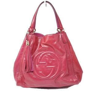 Auth Gucci Large Patent Leather Shoulder Bag